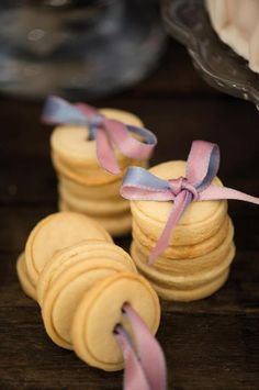 Cinderella Party-button cookies tied up with ribbon. LOVE.