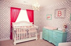 Coral, Turquoise and Gray Nursery - how amazing is this stenciled wall?! #nursery