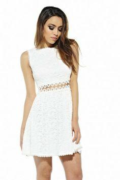 bc5a220ec5 AX Paris White Lace Crochet Skater Dress on