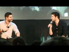 """Jensen and Misha reenacting Jared replying """"You're welcome"""" to a fan.  I love this video."""