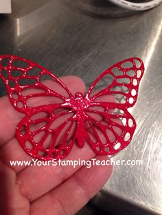 Use VersaMark to the top of your Butterfly Basic Thinlit then add clear embossing powder. Repeat twice for a stunning enamel effect!