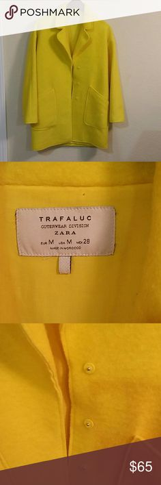 """Zara Trafaluc Yellow trench coat Yellow trench coat from Zara outerwear division. Two front pockets, three front buttons. Excellent condition, no flaws. Made of mohair, polyester, and acrylic. Length is 33"""" bust is 21"""" and sleeves are 20.5"""". Zara Jackets & Coats Trench Coats"""