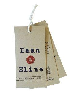 Vintage trouwkaart - Label trouwkaart- Designed By Huis & Grietje