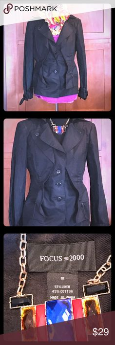 Jacket Black Moto jacket in almost brand new condition ..it's been work 3 or 4 times only. It has buckle detail at bottom of both sleeves. Super cute jacket goes with everything! Focus=2000 Jackets & Coats