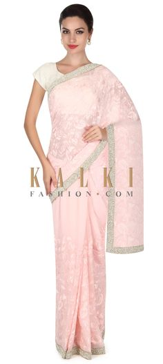 Pink saree featuring in georgette. Its embellished in resham along with pearl and moti border. Blouse is unstitched in pink georgette. Pink Saree, Indian Sarees, Cool Outfits, Pearls, Formal Dresses, Blouse, Bridesmaids, Stuff To Buy, Wedding