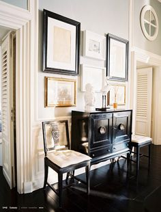 gallery - black sideboard, black floors (love), grey walls