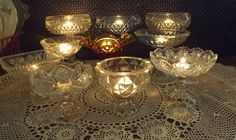 I have a large collection of vintage compotes. They look lovely with lit tea lights! Tea Lights, Life, Collection, Vintage, Tea Light Candles, Vintage Comics