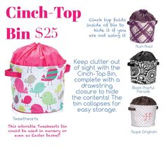 Cinch-top bin spring/summer 2015