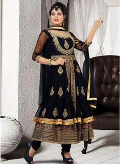 Scintillating Black Net Embellished #Salwar #Kameez #clothing #fashion #womenwear #womenapparel #ethnicwear