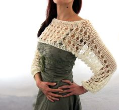 Cotton Summer Cropped Sweater Shrug in Ivory color hand by Rumina