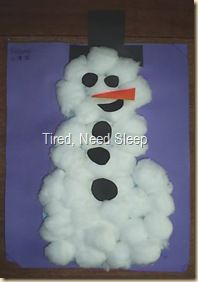 Here's a fluffy snowman craft using cotton balls.       Materials:        sheet of blue construction paper    black and orange constructio...