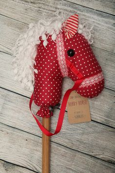 Children's Hobby Horse  Scarlet by ELKKAhandmade on Etsy