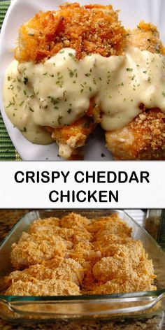 "Crispy Cheddar Chicken ""I have a simple dinner recipe for you today. Simple and easy and tasty and smile provoking all around treasure. I love it when smiles are provoked. Easy Chicken Recipes, Easy Dinner Recipes, Great Recipes, Turkey Recipes, Favorite Recipes, Dinner Recipe For 6, Crockpot Recipes, Crispy Cheddar Chicken, Keto Chicken"