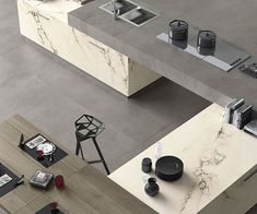 Maxfine roads: porcelain stoneware large tiles for indoor and outdoor spaces Living Room Decor, Living Spaces, Reception Desk Design, Marble Effect, Other Rooms, Outdoor Spaces, Stoneware, Furniture Design, Indoor
