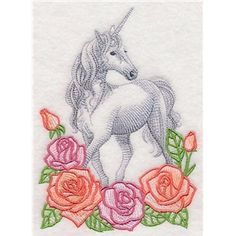 Floral Fantasy Unicorn Machine Embroidered Quilt Block Medium