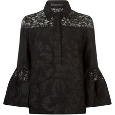 Elie Saab Lace Panel Brocade Blouse (33 020 UAH) ❤ liked on Polyvore featuring tops, blouses, elie saab, lace insert top, bell sleeve blouse, floral blouse and flower print tops
