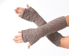Dark beige Long Fingerless mittens  from MioLBoutique by DaWanda.com