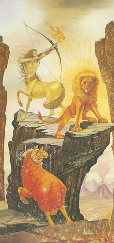 THE ELEMENTS: FIRE Aries, Leo, Sagittarius (oil on board, 1991, by Linda & Roger Garland)