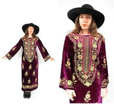 Vintage 60s Embroidered Velvet Dress  60s Boho by ShudderEmporium