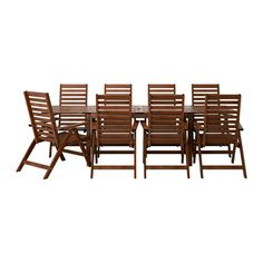IKEA - ÄPPLARÖ, Table+8 reclining chairs, outdoor. Adj. table w/ umbrella hole. Pre-stained. Folding chairs. $569.00 as shown