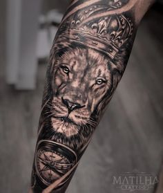 Lion Arm Tattoo, Tiger Tattoo Sleeve, Lion Forearm Tattoos, Lion Tattoo Sleeves, Lion Head Tattoos, Mens Lion Tattoo, Lion Tattoo Design, Arm Tattoos For Guys, Forearm Tattoo Men