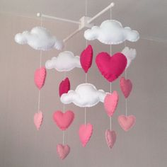 Baby mobile - Cot mobile - clouds and hearts - Cloud Mobile - Baby girl mobile - Nursery Decor - Pink Nursery - Pink baby mobile par EllaandBoo sur Etsy https://www.etsy.com/fr/listing/201811364/baby-mobile-cot-mobile-clouds-and-hearts