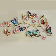 E-HOME® Metal Wall Art Wall Decor,Purple Flowers And Colorful Butterflies Wall Decor One PCS 5143981 2017 – $241.99