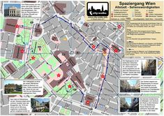 Vienna City self-guided walking Tour map Parks, Map Pictures, Austria Travel, Church Building, Best Cities, European Travel, Walking Tour, Vienna, Tours