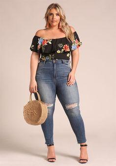 Plus Size Clothing | Plus Size Floral Layered Off Shoulder Bodysuit | Debshops