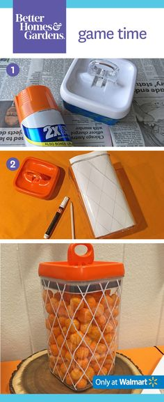 Follow our step-by-step instructions to create this basketball net container: (1) Mask rubber seal with painters tape and spray paint the top orange. (2) Draw net lines on the outside of the container with a white paint marker. (3) Fill with cheese puffs or other snacks.