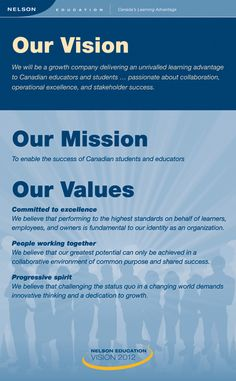 Nelson Education Ltd. - Our Vision Mission and Values