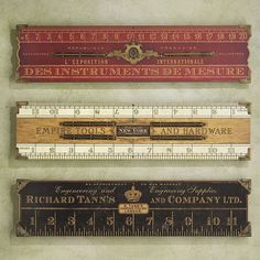 Set of Three Antique Rulers Antique Tools, Vintage Tools, Vintage Theme, Shabby Vintage, Slide Rule, All Tools, Old Computers, Making Life Easier, Wood Tools