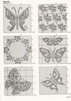 ) I theses 4 Filet crochet.Butterflies for a Jacquard\/embroideryCrochet Curtains Archives - Beautiful Crochet Patterns and Knitting Designs of Butterflies & FlowersThis Pin was discovered by Gal Filet Crochet Charts, Crochet Motifs, Crochet Diagram, Knitting Charts, Thread Crochet, Cross Stitch Charts, Cross Stitch Embroidery, Crochet Stitches, Cross Stitch Patterns