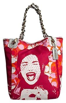 Coach Limited Edition Nylon Laughing Girl Bucket Pink/Orange Tote Bag $279