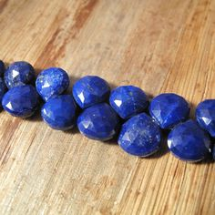 Lapis Lazuli Gemstone Beads, 4 Inch Strand of Natural Lapis Briolettes, 9.5mm x 9.5mm, Blue Beads for Making Jewelry (Luxe-Lap1c) by LillysBeadBox on Etsy