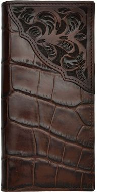 Chocolate brown gator print leather wallet Chocolate brown floral hand-tooled leather corner overlay Protective ID window 5 card slots Removable picture holder Two currency pockets Checkbook and register inserts Measures approximately 7 x 3 Leather Carving, Leather Tooling, Leather Wallet, Tooled Leather, Custom Wallets, Picture Holders, Checkbook Cover, Leather Craft, Handmade Leather