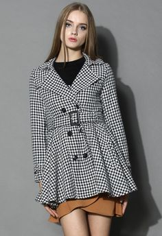 Houndstooth Belted Flare Tweed Coat - Outers - Retro, Indie and Unique Fashion
