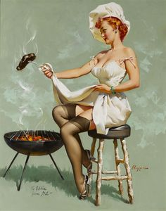 A Lot at Steak by Gil Elvgren ~ Oil on Canvas, America, American Artist, 20th Century, Figurative, Iconic Illustrations, Pin-up ~ M.S. Rau Antiques