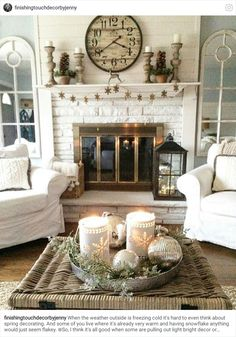 I like the garland. Choose something metal for year round instead of snow flakes. I also like the basket of blankets. In the summer replace the blankets with beach towels.