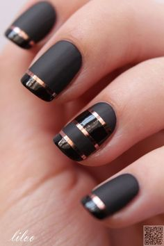 21. #Matte Black with #Shiny Black Tips - This is What #Striped Nail Art Looks…