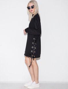 Black Eyelet Lace Up Dress #fashion #pixiemarket
