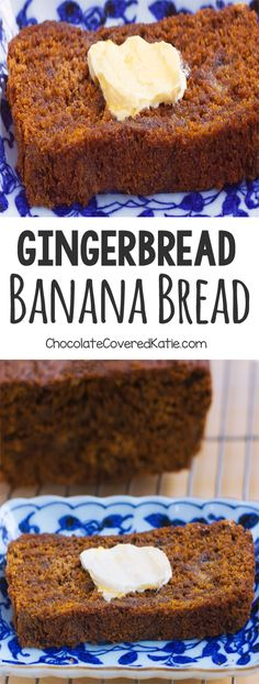 Gingerbread Banana Bread - A super healthy and delicious homemade breakfast recipe: 1 cup mashed banana, 2 tsp cinnamon, tsp cloves, cup. Köstliche Desserts, Delicious Desserts, Dessert Recipes, Holiday Baking, Christmas Baking, Christmas Desserts, Christmas Gifts, Gingerbread Banana Bread, Vegan Gingerbread