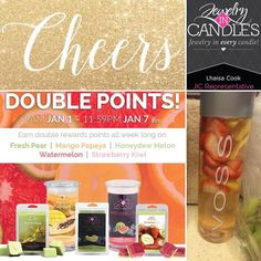 From 9am on January 1 to 11:59pm EST on January 7 earn double reward points on every purchase of Fresh Pear Mango Papaya Honeydew Melon Watermelon and Strawberry Kiwi candles and tarts! Come visit http://ift.tt/1IeUHGb  #candles #ecofriendly #healthy #lush #endoftheyear #sale #christmas #nvusddjic #jewelry #homedecor #interiordesign #spa #relax #yogi #sahm