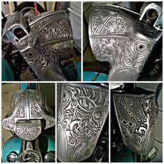 Hand engraved metal headlight , fork cover Nacelle for Harley Davidson Motorcycle, 75 Shovelhead FLH Electraglide