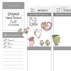 Spring is here! Planner Stickers -- Flowers Planner Stickers, Cute Cat Dog Lover, Tulips Snowdrops Spring Rain -- NextWeeksDream (SMS01)