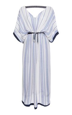 This Zeus + Dione Ammos Textured Silk Kaftan features a textured silk caftan design embellished with a loom trim and fastened with a handmade tassel. Silk Kaftan, Silk Tunic, Kaftan Tops, Embellished Top, Silk Top, Blue Tops, Wrap Dress, Polyvore, Clothes
