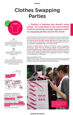 From Sustania 100 - the annual guide to 100 innovative solutions from around the world: Clothes Swapping Parties