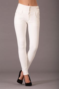 I am Here to Stay White High Waist Jeans – Lusty Chic High Jeans, High Waist Jeans, Skinny Fit Jeans, Stretch Fabric, Chic, How To Wear, Cotton, Pants, Collection