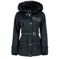 Dressation Womens Faux Fur Hooded Black Winter Parka Jacket Coat with... (110 BRL) ❤ liked on Polyvore featuring outerwear, coats, belt coat, faux fur hood coat, belted coat, parka coat and coat with belt