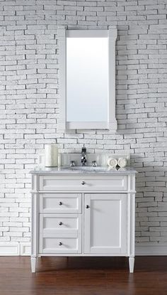 "Brittany 36"", James Martin Cottage White Transitional Bathroom Vanity"